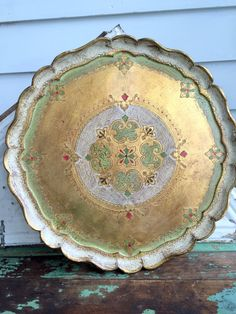 Vintage Italy Gold Green Shabby Florentine Wood Tray Red Accents by Holliezhobbiez on Etsy