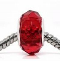 Red Faceted Crystal Bead fits Pandora