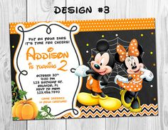 mickey minnie mouse halloween costume birthday party photo invitations baby polka dot chevron chalkboard any age printable - Baby Halloween Birthday Party