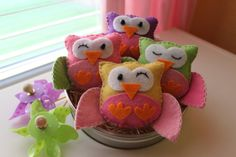 Mini Felt Plush Owls - Owl Ornament - Party or Baby Shower Favors - Colors and Quantity of your Choice
