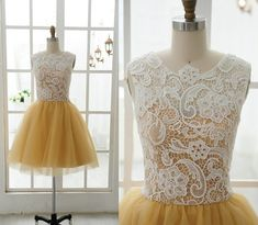 Lace Tulle Bridesmaid Dress Prom Dress Yellow Tulle Dress Knee Short Dress on Etsy, $99.00 Want in Purple!