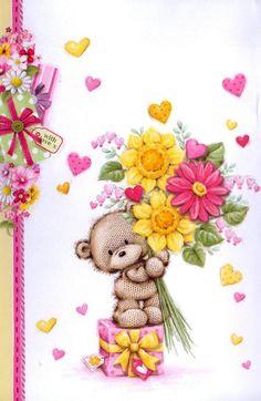 Florynda del Sol ღ☀¨✿ ¸.ღ Anche gli Orsetti hanno un'anima…♥ Tatty Teddy, Happy Birthday Wishes, Birthday Greetings, Birthday Greeting Cards, Cute Images, Cute Pictures, Teddy Bear Pictures, Bear Graphic, Bear Cartoon