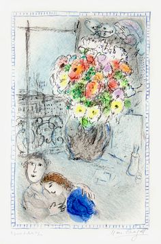 Marc Chagall, The Buttercups, 1973, a color lithograph signed and editioned at Masterworks Fine Art Gallery