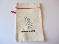 Pochette de rangement brodée femme tête d'oiseau, 28,5 cm X 19 cm : Bagagerie par tante-jeanne
