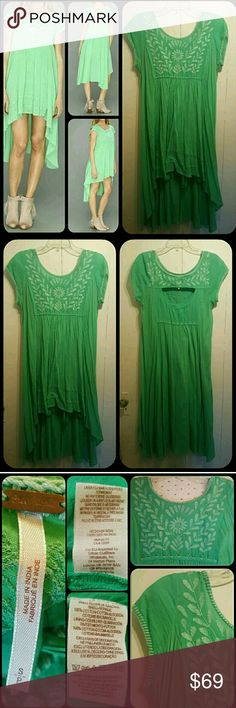 Free People Marinas Gauzy Hi Low Dress FESTIVAL Pre loved only worn a few times  Free people.marinas dress gauzy hi.low dress in a green colorway  PICS look a bit darker than actual dress at least on my device pls bear this.in mind.if shade is that big a thing then mightn't be best item to buy online .just being honest=p 2.pc.dress liner is a spaghetti strap slip. Free People Dresses