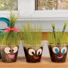 Clear plastic cup, potting soil & grass seeds! :D