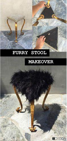 Furry Stool Makeover on MotleyDecor.com
