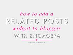I've gotten a lot of questions recently about the related posts widget at the bottom of my posts. Since nRelate recently closed it's doors, lots of bloggers have switched over to Engageya. Today I'll show you how to add this widget to your own blog and also how to make it pretty! (aka CSS styling) ... Read more...