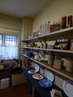 Victorian pantry interior at Wightwick Manor National Trust Dark Wood Kitchens, Brown Kitchens, Country Kitchens, Pantry Interior, Kitchen Interior, Interior Ideas, Interior Inspiration, Victorian Kitchen, Victorian Homes