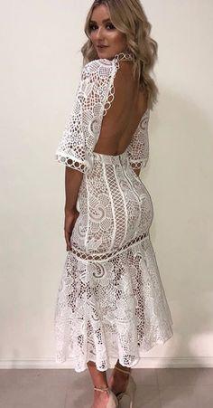 White Backless Lace Maxi Dress