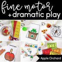 Apple Orchard Fine Motor and Dramatic Play Activities - This pack includes six #finemotor activities that are perfect for a #dramaticplay area! You could also use them for morning tubs or bins. You get cutting, playdough, tweezing, paper tearing, and hole punching materials. Great for an #apple theme. Get yours now for preschool, Kindergarten, or 1st grade! #Preschool #Kindergarten #1stGrade
