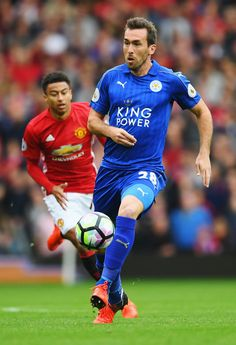 Christian Fuchs of Leicester City in action during the Premier League match between Manchester United and Leicester City at Old Trafford on September 2016 in Manchester, England. Manchester England, Manchester United, Christian Fuchs, Premier League Matches, Old Trafford, Leicester, Squad, September, Action