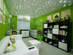 7 Tips for Lighting Your Nursery: A perfect example of nursery lighting done right! Love the starry ceiling, created by fiber-optic LED lights installed in the crawl space. Nursery Room, Kids Bedroom, Bedroom Decor, Kids Rooms, Nursery Ideas, Bedroom Ideas, Budget Bedroom, Design Bedroom, Childrens Bedroom