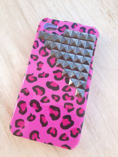 Pink Cheetah Iphone case iphone 4 pink studded by MellaFina, $13.99