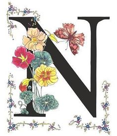 Nasturtium and Nettle-Tree Butterfly by Stanza Widen Creative Lettering, Lettering Design, Hand Lettering, Graphic 45, Decoupage Printables, Stoff Design, Alphabet And Numbers, Alphabet Letters, Illuminated Letters