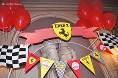 Details of the podium for this Ferrari themed party