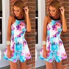 2016 Sexy Women Ladies Backless Floral Summer Beach Dress Mini Bodycon Dresses