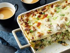 Sausage Gravy Breakfast Lasagna recipe from Food Network Kitchen via Food Network. This would be a brunch recipe. Breakfast Lasagna, Sausage Breakfast, Breakfast Dishes, Camping Breakfast, Breakfast Casserole, Breakfast Carbs, Breakfast Gravy, Breakfast Biscuits, Brunch Dishes