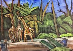 Giraffes, People and Plants at the Zoo