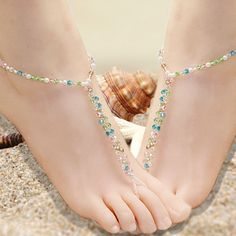 Crystal sandals White Pearl Barefoot Sandal, Foot Jewellery Bridal/ Beach Hand made to To Anklet Toe rings anklets(China (Mainland))