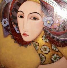 Faiza Maghni - from Oran, Algeria now lives in Paris Arte Tribal, Tribal Art, Art Visage, Gold Leaf Art, Art Et Illustration, Art For Art Sake, Face Art, Contemporary Paintings, Woman Face