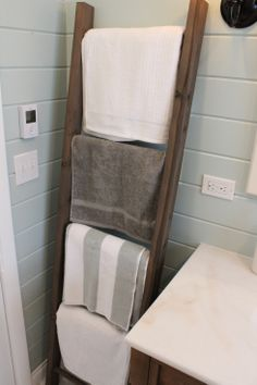 How to Build a Rustic, Weathered Ladder for Towels or Blankets
