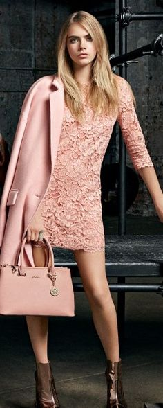 Casual cut of the shift, but elegant lace. Cara Delevingne for DKNY Resort 2015