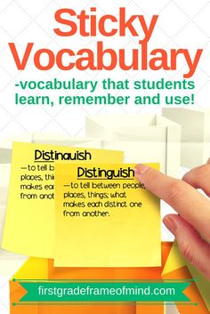 """""""Sticky vocabulary"""" is making vocabulary stick with students beyond the test. It's in the revisiting and reviewing of the words on a regular basis that is a critical piece missing at times. There is nothing wrong with testing at the end of the week, but it does not guarantee that our students will remember vocabulary long term. But how can we teachers remember to use the words and in what context? Here's how: (1) planning, (2) content, (3) visual, (4) school environment, (5) motivation."""