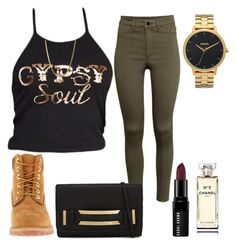 """""""Untitled #953"""" by kgoldchains ❤ liked on Polyvore featuring Gypsy Soul, H&M, Nixon, Timberland, ALDO, Bobbi Brown Cosmetics and Chanel"""