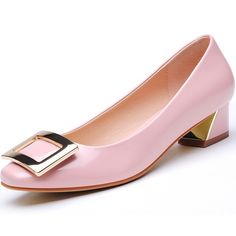 Damen Pumps Komfort Kuchen und Lackleder Blockabsatz Niedriger Absatz Damenschuhe pink wedding shoes low heel Chunky heels