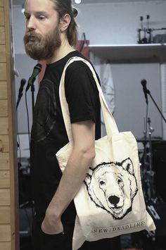 "White ""Polar bear"" canvas bag Organic cotton, one size"