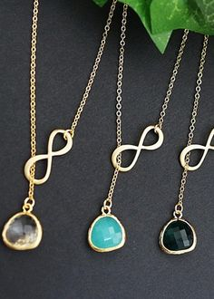 Infinity charm necklaces from EarringsNation Mint weddings Mint and gold weddings
