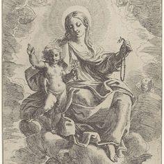 Maria met Kind en rozenkrans, Domenico Maria Canuti, 1630 - 1684 - Rijksmuseum