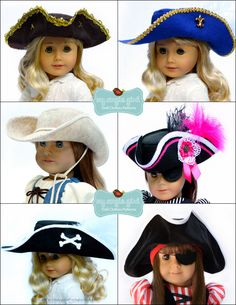 """My Angie Girl Pirate Hat Doll Clothes Pattern 18 inch American Girl Dolls 18"""" Doll Clot 