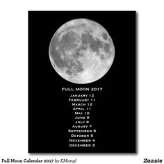 Full Moon Calendar 2017 Postcard