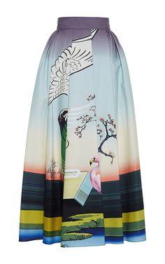 Bowles Printed Cotton Midi Skirt by Mary Katrantzou Now Available on Moda Operandi