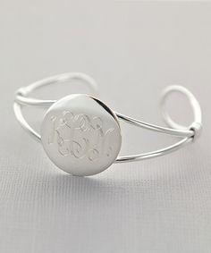 Look at this #zulilyfind! Silver Monogram Cuff Bracelet #zulilyfinds