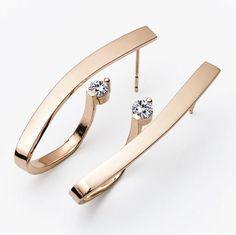 diamond earrings, gold earrings, 14k yellow gold, dangle earrings, Christmas gift, statement earrings, artisan jewelry, fine jewelry - 2001