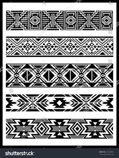 Find Navajo Aztec Border Vector Illustration Page stock images in HD and millions of other royalty-free stock photos, illustrations and vectors in the Shutterstock collection. Thousands of new, high-quality pictures added every day. Navajo Tattoo, Tribal Band Tattoo, Armband Tattoo, Native American Patterns, Native American Symbols, Native American Design, Native Symbols, Tatuaje Navajo, Border Pattern