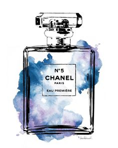 Fashion illustration perfume inspired watercolor size choice Blue wall art poster wall art, perfume art, fashion gift, gift for, make up Chanel water color digital print Chanel by hellomrmoon Art Chanel, Chanel Wall Art, Chanel Print, Chanel Poster, Arte Fashion, Parfum Chanel, Kunst Poster, Illustration Mode, Illustrations
