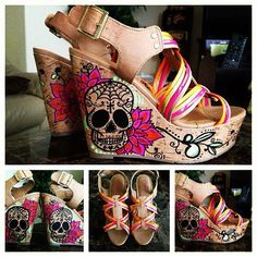 Custom Sugar Skull Wedges Women's by PrettyInPunkArt on Etsy, $95.00   I want these!!!!!