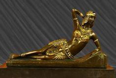 Reclining Egyptian revival bronze figurine