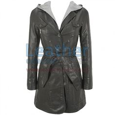 Hooded Leather 3/4 Length Coat, Genuine Leather 0.9 - 1.0 mm, button front with notch collar, zip-out hood lining, button cuffs, Slip-in hand pockets, zippered chest pocket and buttoned chest pocket, Removable tie belt at waist, buttoned back yoke