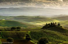 Tuscany, Italy  The landscapes of Tuscany are breathtaking. The villas and farmhouses surrounded with the wave-like hills and cypress trees are available to rent for the tourists. A vacation here provides an authentic Italian experience, filled with fresh food, wine and striking sites.