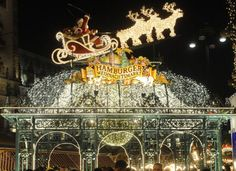 Christmas market in front of Hamburg's Town Hall in Hamburg, Germany
