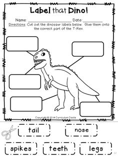 Label that Dino: Dinosaur Labeling Activity! $