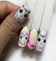 Animal Nail Designs, Animal Nail Art, Nail Art Designs, Kawaii Nails, Nail Polish Bottles, Geometric Nail, Cat Nails, Polka Dot Nails, Disney Nails
