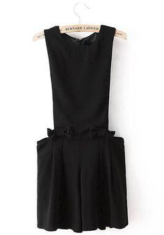 Black Plain Mid Waist Loose Jumpsuit
