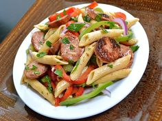 Cajun pasta salad - very good! I used Jennie-O kielbasa, and I threw the veggies in the pan at the end just to soften them a tiny bit. Parsley didn't add much.