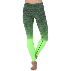 Electric Yoga Faded Legging (381632201) ($88) ❤ liked on Polyvore featuring pants, leggings, lime green, green pants, cotton pants, cotton trousers, lime green pants and legging pants